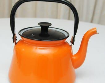 Orange and Black Polish Enamelware Teapot