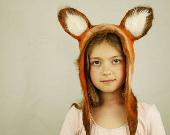 Fox inspired felted hat - Cunning Fox hat - Fox Ears Costume - Fox orange hat - Animal hat - Merino wool fox hat