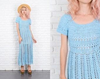 Vintage 70s Crochet Hippie Dress Boho Festival Sheer Sky Blue Maxi XS Small S 9937