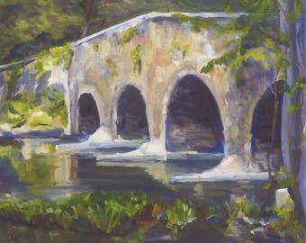 Original Plein Air Landscape Oil Painting Stone Bridge on Lake