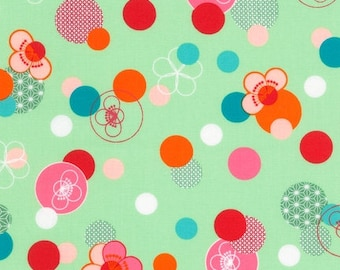 "END OF BOLT - 8.5""x44"" -  Hello Tokyo Cherry Blossoms on Mint from Robert Kaufman"