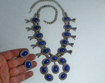 Vintage Squash Blossom Necklace by Edith James Natural Blue Lapis Lazuli Sterling Silver w/ matching Earrings Stamp and Twisted Rope Silver
