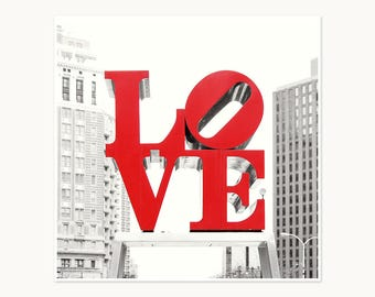Photograph print - Red Love Sign Philadelphia - Black and White