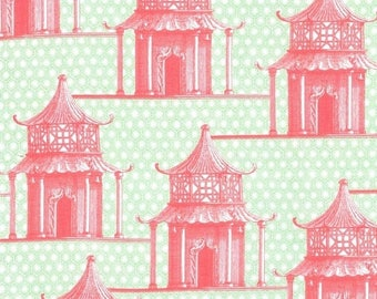 SHOP CLOSING SALE Michael Miller fabric by the yard Pagoda Time in Coral 1 Yard