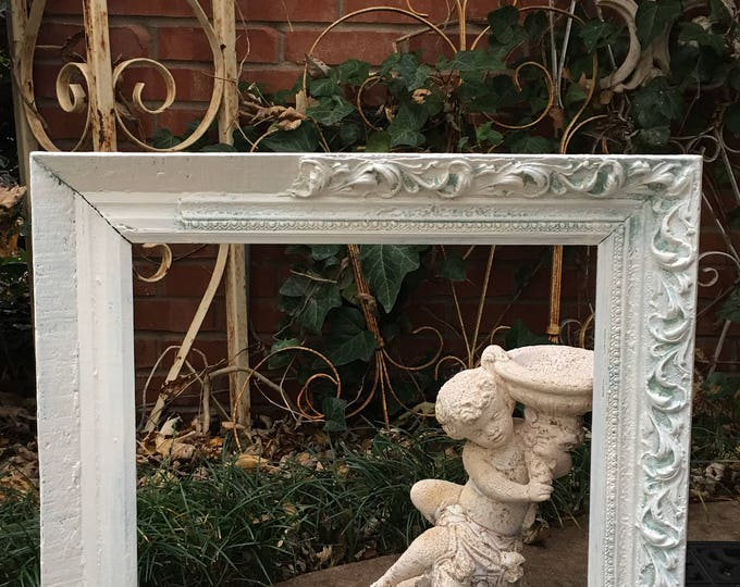 ANTIQUE FRAME - Shabby Chic Missing Gesso - Painted White - Large 21 x 24!  Wide Ornate Wood -  Holds 15 X 18