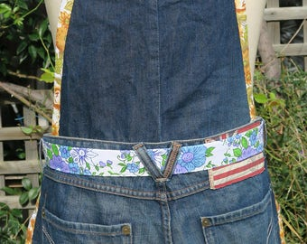 Upcycled Denim Jeans Handmade Kitchen Apron with pockets - Uses: Cooking Gardening Craft -  Birthday Gift  Christmas - OOAK