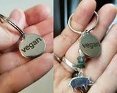 Vegan Keychain - Choice of Simple or with Crystals and Animal Charm of Choice