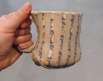 White and Purple Bamboo Ceramic Mug - Ceramic Coffee Mug, Tea Cup
