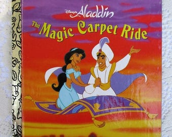 SALE 20% OFF Vintage Collectible Disney's Aladdin The Magic Carpet Ride ~Little Golden Book 1990s, Excellent Condition, Includes Princes Jas