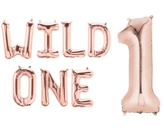 "WILD ONE Letter Balloons Set of 7 Letters Rose Gold Balloons Air Fill only / Large 34"" Number ""1"" Balloon Helium Quality / 1st Birthday"