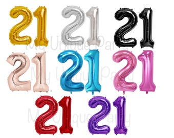 "21 Birthday Number Balloons Large 34"" Mylar / Set of 2 Balloons Helium Quality / 21st Birthday Party"