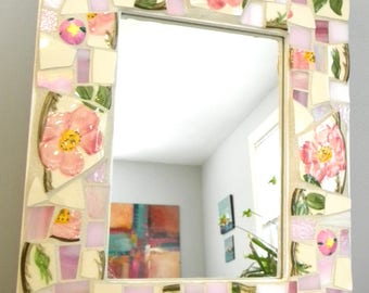 Vintage Franciscan DESERT ROSE Accent Mirror - Stained Glass and Broken China Tiles