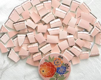 MOSAIC China Tiles - Dusty Rose Tiles and Floral Focal Tile - 105 Tiles