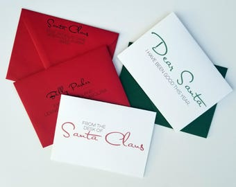 From Santa Claus/To Santa Claus Cards with Matching Envelopes Addressed from the North Pole