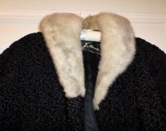 Vintage Persian Lamb Coat Evans Coat Chicago Paris Milan  Swing Coat Mink Collar Pockets Lined