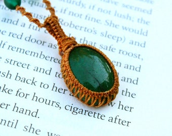 Jade Macrame Necklace - Stone for Wisdom Balence and Peace
