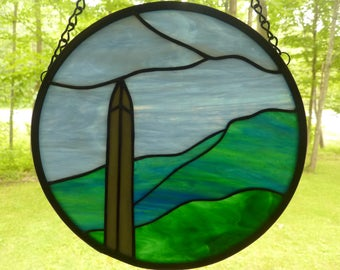 Stained Glass Bennington Battle Monument and Mt. Anthony Vermont