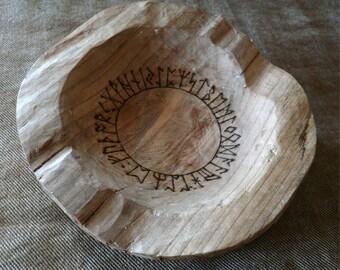 Rune Oracle Bowl, Cherry Wood, Elder Futhark and Anglo-Saxon Futhorc