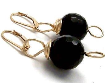 Onyx Earrings 14kt Gold Filled Leverback Black Gemstone Jewelry Semi Precious Stone Elegant Beaded Artisan Handcrafted Designer Custom Made