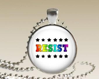 Gay Pride/ Gay Necklace/ Gay Resist/ Lesbian Necklace/ Rainbow Necklace/Resist Necklace Rainbow Resist Necklace Resist Pendant N151