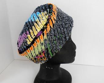 Pillbox Hat Reversible Cotton Bright Multi Color Batik Lining