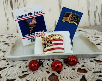 Retro 1990's Patriotic Pin Collection - Vintage Enameled Lapel Pins, Red + White + Blue Brooches, Patriotic Costume Jewelry, 3 Vintage Pins