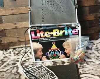 Vintage Lite Brite Set Working in Great Condition - Retro Lighted Toy, Milton Bradley, Game Night, Lit Brite Lighted Board + Accessories