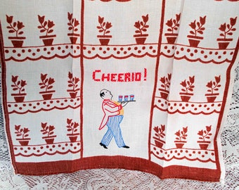 Vintage Tea Towel Waiter with Tray Embroidered Cheerio! Mint