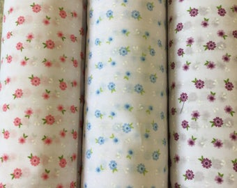Daisies polycotton craft fabric available in three colours by the metre