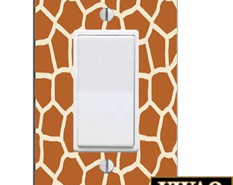 Giraffe Print Rocker Style Light Switch Cover Skin Ready to Hang Giraffe Print Theme Light Switch Cover VWAQ-LS15SF