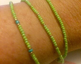 Seed Bead Stretch Bracelet Set of 3-- Lime Green/Turquoise/Gold