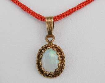 Antique 14K Yellow Gold Solitaire Opal Pendant October Gemstone Charm Birthstone