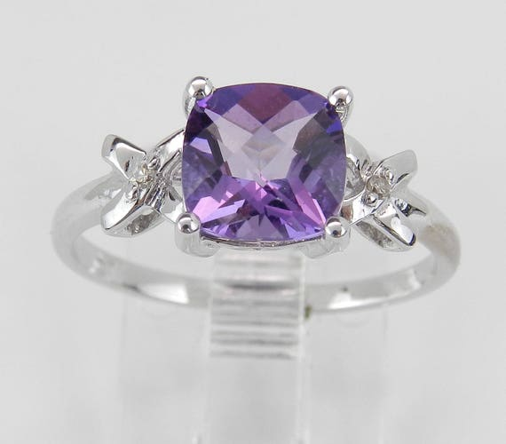 Diamond and Amethyst Engagement Promise Ring Size 7 White Gold Cushion Cut