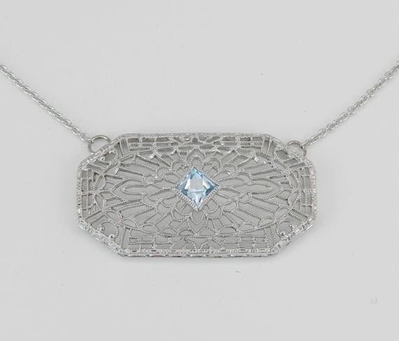14K White Gold Art Deco Antique Filigree Aquamarine Necklace Pendant Circa 1920