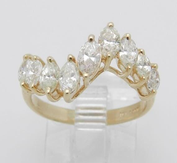 1.00 ct Marquise Diamond Wedding Ring Anniversary Band 14K Yellow Gold 5.5