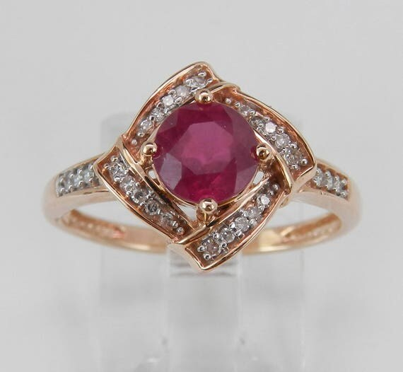 Ruby and Diamond Engagement Ring Promise Halo Ring Rose Gold Size 7 July Gem
