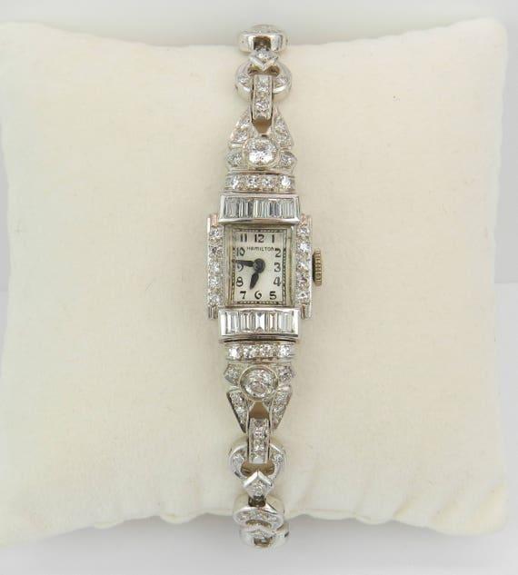 Antique Art Deco Platinum 2.70 ct Diamond HAMILTON Ladies Bracelet Watch