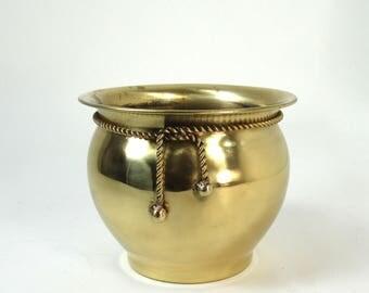 Brass Planter Rope Detail, Brass Flower Pot, Succulent Pot, Indoor Garden Cachepots