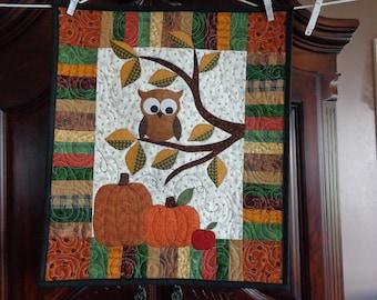 Owl Fall Quilt, Little Quilt, Pumpkins 0730-04