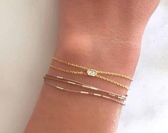 dainty cz pavé gold hexagon layering bracelet. delicate stacking jewelry.