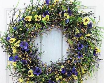 WREATH SALE Summer Floral Wreath - Storm Door Wreath - Pansy Wreath - Farmhouse Home Decor - Spring Wreath - Spring Front Door Wreath - Flow
