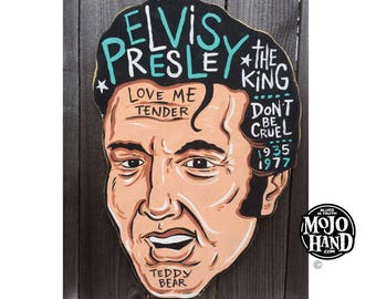 ELVIS PRESLEY folk art painting by grego - acrylic - BIG - cut to shape