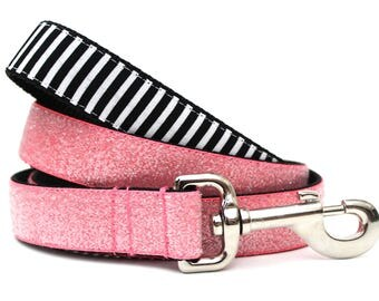"Stripes and Glitter Dog Leash 1"" Coral Glitter Dog Leash"