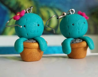 Kawaii Cactus Succulent Polymer Clay Earrings