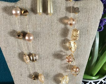 Gold, Pink & Bronze Necklace and Earrings