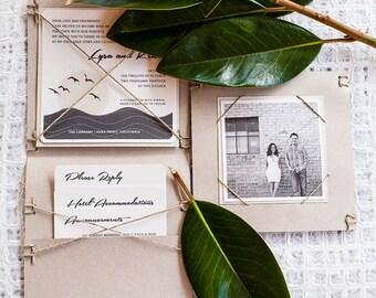Modern Beach Wedding Invitation, Ocean Sunset, Hemp Twine Pocket folder, Square Invite Response Post card, Eco Friendly Wedding Suite