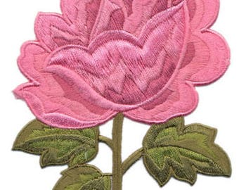 embroidered iron on applique-Large Rose pink
