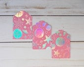 Ocean Theme Gift Tags, DIY Jewelry Cards, Holographic Tags, Etsy Shop Supplies, Starfish Place Cards, Set of 12 Gift Tags