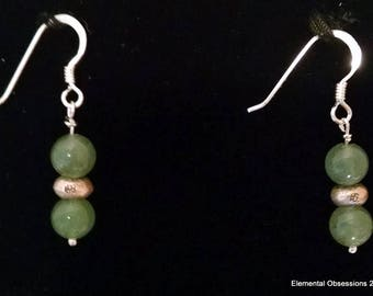 Aventurine and Thai Silver Earrings