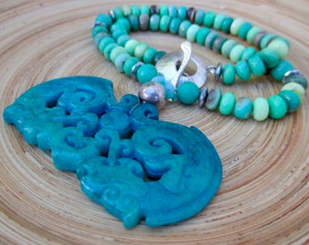 Statement carved jade necklace with large blue pendant and chrysoprase Frida Kahlo necklace advanced style bold summer necklace